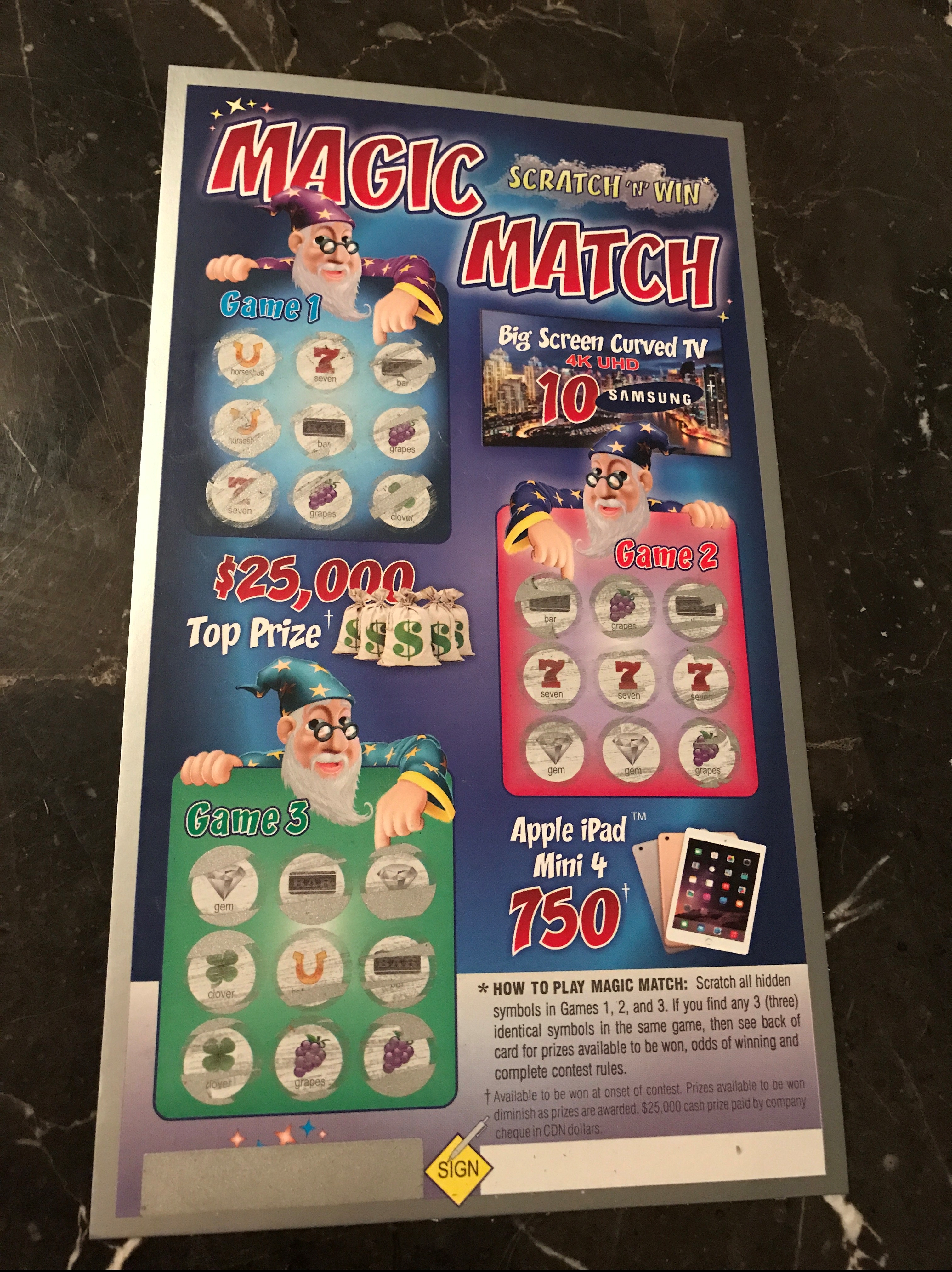 Canada post delivered Magic Match Scratch N Win Tickets